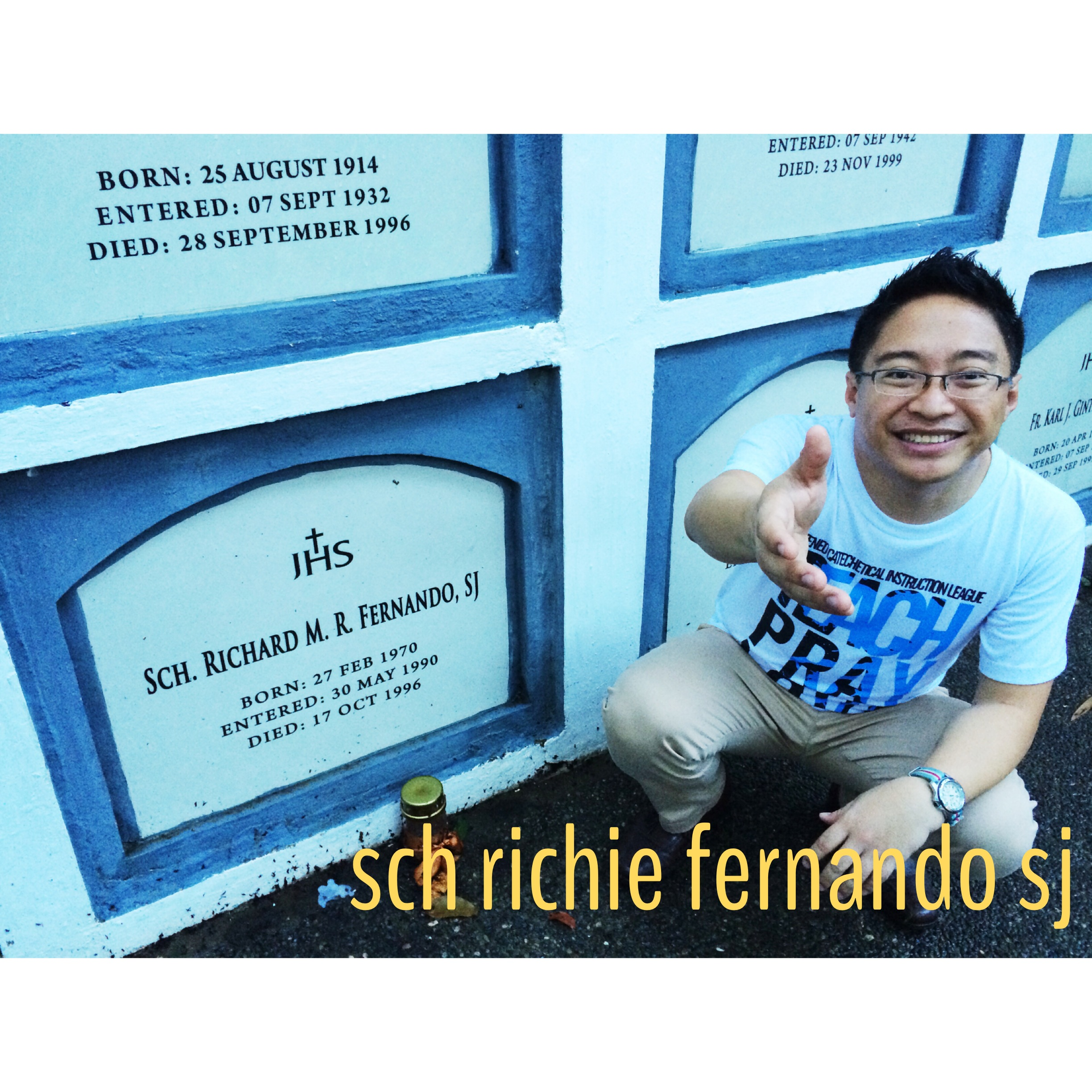 Visiting Sch. Richie Fernando SJ, a batchmate, who died protecting his student in Cambodia. This was taken during the reunion of our novitiate batch. We entered on May 1989.