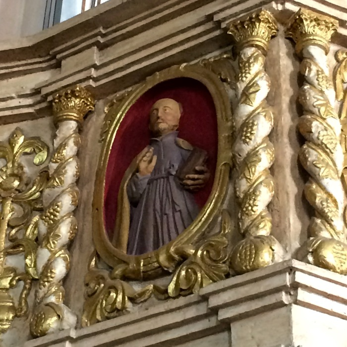 St. Ignatius of Loyola. Detail of the pulpit in the interior of the San Gregorio Magno Church, Indang, Cavite. Photo: Fr. Jboy Gonzales SJ