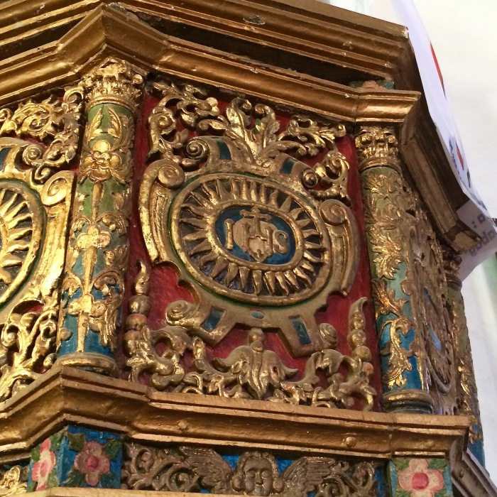 Here is one of the details of the pulpit in Our Lady of the Assumption Church: it is the IHS emblem of the Jesuits with the sun's rays. Photo: Fr. Jboy Gonzales SJ