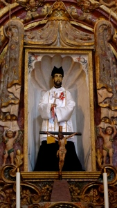 Detail: St. Francis Xavier,  Mission San Xavier del Bac. Photo: Fr. JBoy Gonzales SJ, January 2011