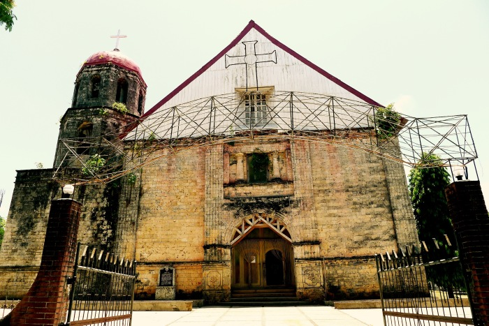 The facade of the San Isidro Labrador Parish. Notice the rose-colored walls! Photo: Fr. Jboy Gonzales SJ 14 April 2015