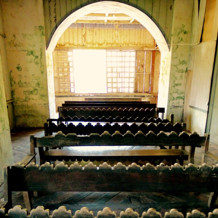The scalloped designs on the pews of the Augustinian's small chapel, Lazi Convent. Photo: Fr. Jboy Gonzales SJ 14 April 2015