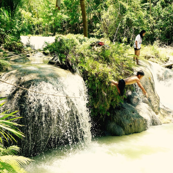 A child dives at the Cambugahay Falls, Lazi, Siquijor. Photo: Fr. Jboy Gonzales SJ 14 April 2015