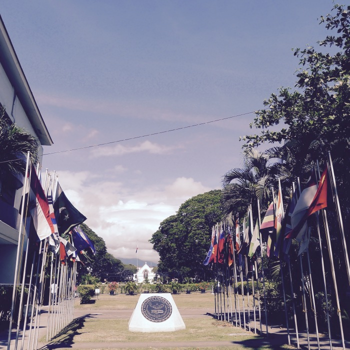 Rows of international flags greet visitors who enter the gate from Rizal Boulevard. Photo: Fr. Jboy Gonzales SJ