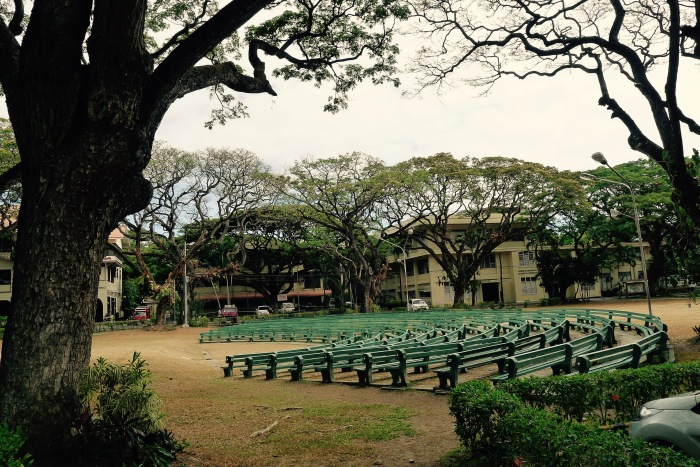 Chairs for a performance have been placed on the main grounds of Silliman University. Photo: Fr. Jboy Gonzales SJ