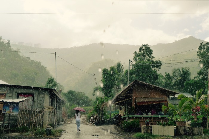 A sitio along the Laurel-Tanauan Road during a heavy downpour. Photo: Jboy Gonzales SJ