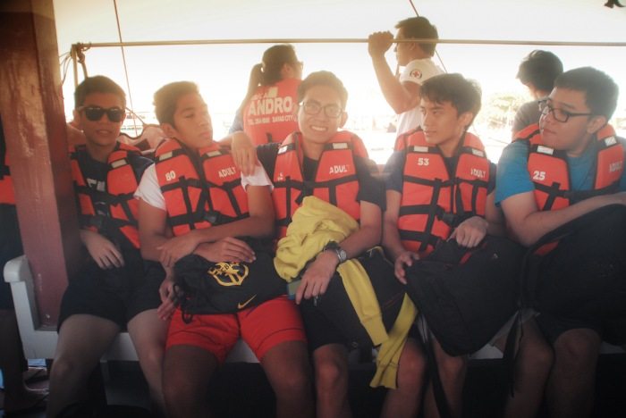 To keep us safe, all donned their life jackets on our way to snorkelling off the coast of Samal Island. Eco-Spiritual Pilgrimage. Ateneo High School. Photo: Mr. Bok Pioquid, CSIP, AHS