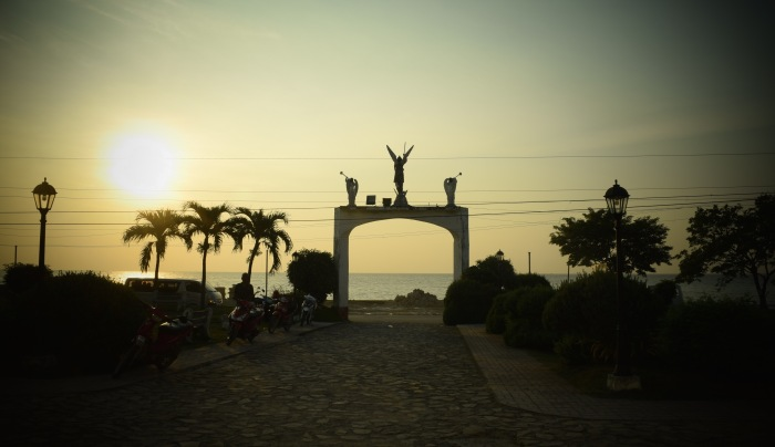 The arc of an angel at the church entrance welcomes the morning sun rising from the sea. Boljoon, Cebu. Photo: Fr. Jboy Gonzales SJ