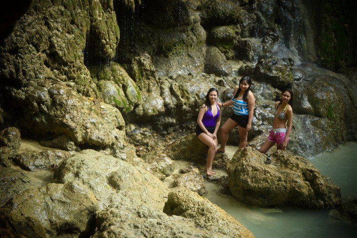 Nina, Faith and Trins of the Ateneo High School at Tumalog Falls. Oslob, Cebu. 23 August 2015 Photo: Fr. Jboy Gonzales SJ