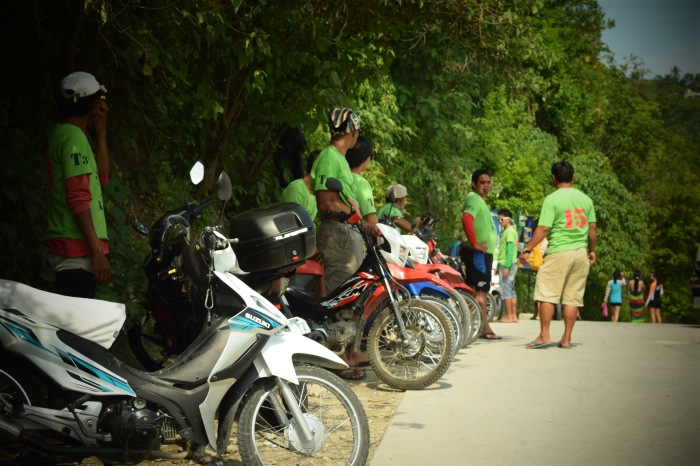 Motorcycles with the drivers could bring you to Tumalog Falls for a fee. Oslob, Cebu. 23 August 2015 Photo: Fr. Jboy Gonzales SJ