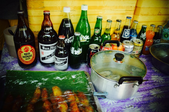 Softdrinks and Filipino snacks like turon are displayed for tourists. Oslob, Cebu. 23 August 2015 Photo: Fr. Jboy Gonzales SJ