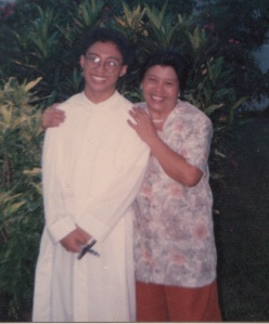My mom and I after I took my first and perpetual vows in the Society of Jesus. May 31, 1991