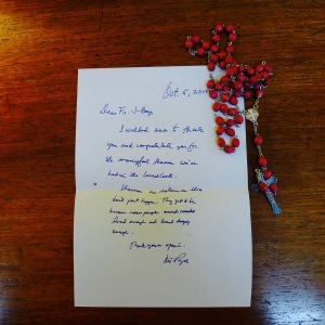 I received a note from Mr. Onofre Pagsanghan after launching with a mass, the Month of the Rosary. 7 October 2015
